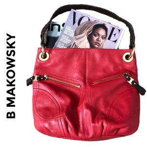 B MAKOWSKY Red Leather Shoulder Bag